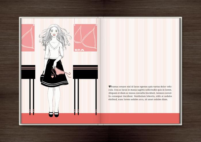 Kolorierte Handzeichnung eines Mädchens, das sich beim Einkaufen in der Wäscheabteilung eines Kaufhauses unsterblich verliebt, im Buch Träumen von Berlin – Eine Liebesgeschichte