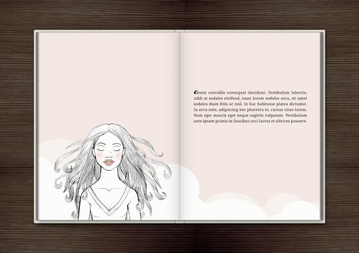 Kolorierte Handzeichnung eines Mädchens, das sich unsterblich verliebt und alsbald hinfortträumt, im Buch Träumen von Berlin – Eine Liebesgeschichte