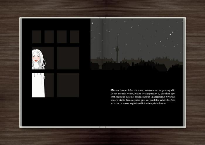 Kolorierte Handzeichnung eines Mädchens, das spätnachts am Fenster auf ihren Liebsten wartet, im Buch Träumen von Berlin – Eine Liebesgeschichte