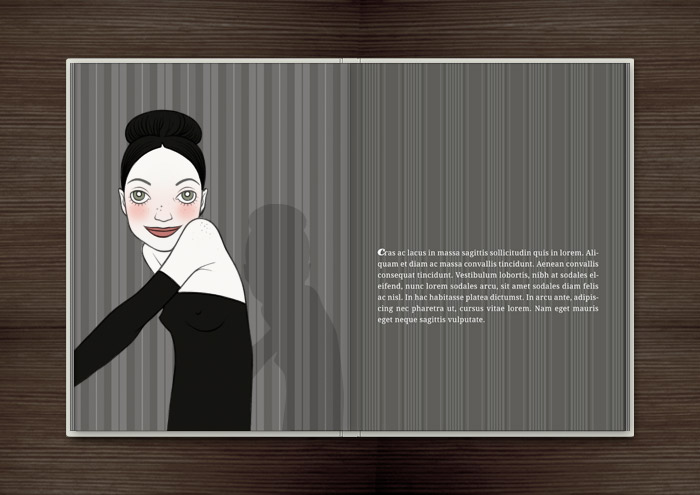 Kolorierte Handzeichnung der Rivalin Holly im Abendkleid, auf die unsere Heldin eifersüchtig ist, im Ballhaus im Buch Träumen von Berlin – Eine Liebesgeschichte