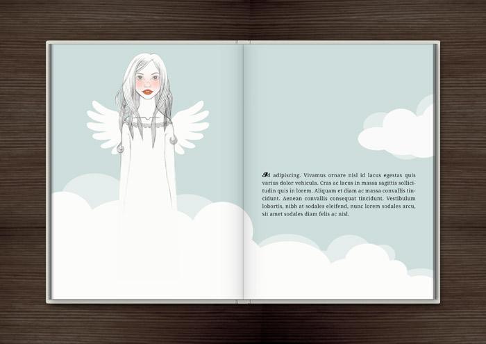 Handzeichnung von einem mädchenhaften Engel auf Wolken im Buch Träumen von Berlin – Eine Liebesgeschichte