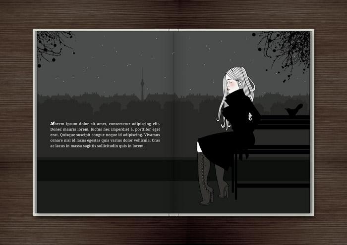 Kolorierte Handzeichnung eines Mädchens, das an einem Herbstabend im Monbijoupark von ihrem Liebsten verlassen wurde und nun mit gebrochenem Herzen einsam fröstelnd trauert, im Buch Träumen von Berlin – Eine Liebesgeschichte