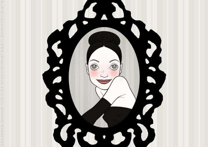 Handzeichnung eines gerahmten Portraits eines Mädchen als Rivalin und Freundin, für eine Liebesgeschichte