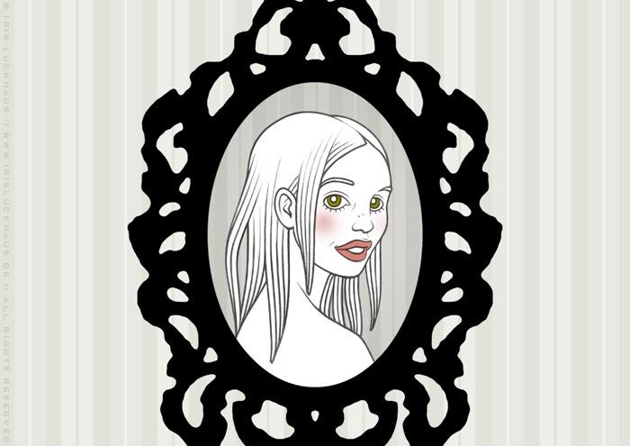 Handzeichnung eines gerahmten Portraits eines Mädchen als Freundin und Rivalin, für eine Liebesgeschichte