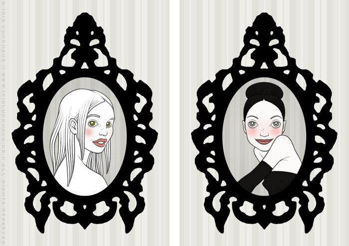 Handzeichnung von gerahmten Portraits von Mädchen als Freundinnen und Rivalinnen, für eine Liebesgeschichte