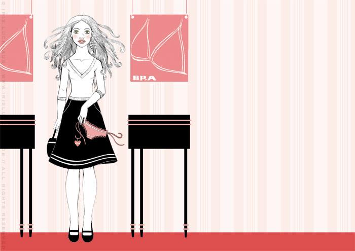 Kolorierte Handzeichnung eines Mädchens, das sich beim Einkaufen in der Wäscheabteilung eines Kaufhauses unsterblich verliebt, für eine Liebesgeschichte