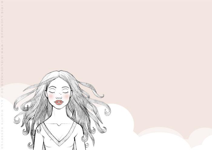 Kolorierte Handzeichnung eines Mädchens, das sich unsterblich verliebt und alsbald hinfortträumt, für eine Liebesgeschichte