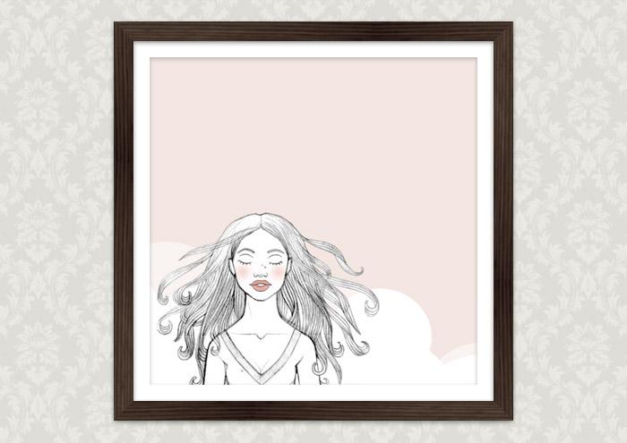 Kolorierte Handzeichnung eines Mädchens, das sich unsterblich verliebt und alsbald hinfortträumt, als Kunstdruck