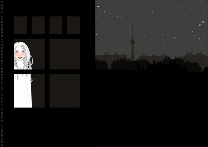 Kolorierte Handzeichnung eines Mädchens, das spätnachts am Fenster auf ihren Liebsten wartet, für eine Liebesgeschichte
