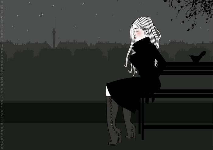 Kolorierte Handzeichnung eines Mädchens, das an einem Herbstabend im Monbijoupark von ihrem Liebsten verlassen wurde und nun einsam fröstelnd trauert, für eine Liebesgeschichte