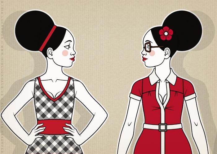 Ausschnitt aus Retro-Modezeichnungen im Stil der Sixties mit Beehive, kleinen Kleidchen und großen Sonnenbrillen