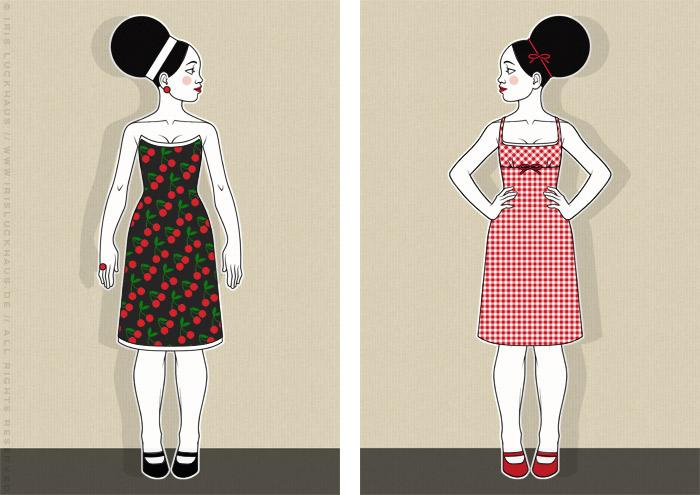 Retro-Modezeichnungen im Stil der Sixties mit Beehive, kleinen Kleidchen mit Kirschen und Karos und großen Sonnenbrillen