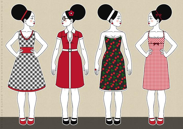 Retro-Modezeichnungen von Iris Luckhaus im Stil der Sixties mit Beehive, kleinen Kleidchen und großen Sonnenbrillen