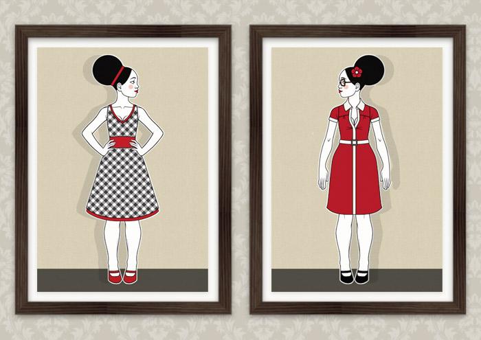Poster der Modeillustration Fashionistas