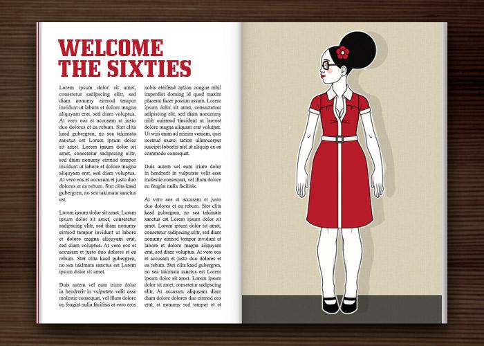 Modeillustration Fashionistas im Magazin