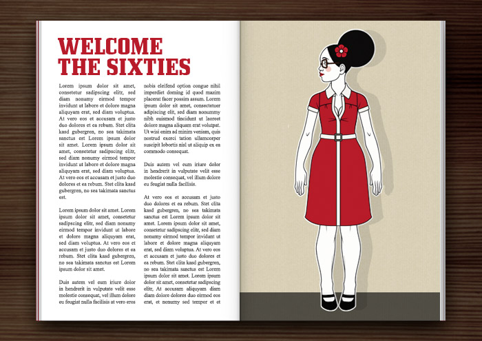 Magazin Seite mit Retro-Modezeichnungen im Stil der Sixties mit Beehive, kleinen Kleidchen und großen Sonnenbrillen