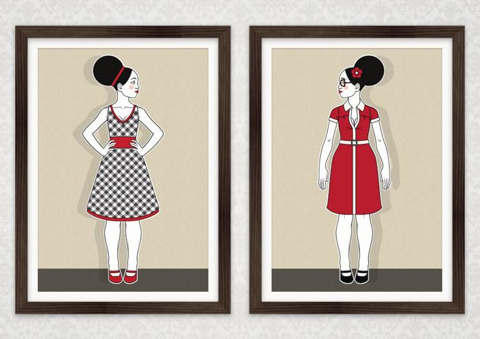 Poster von Retro-Modezeichnungen im Stil der Sixties mit Beehive, kleinen Kleidchen und großen Sonnenbrillen