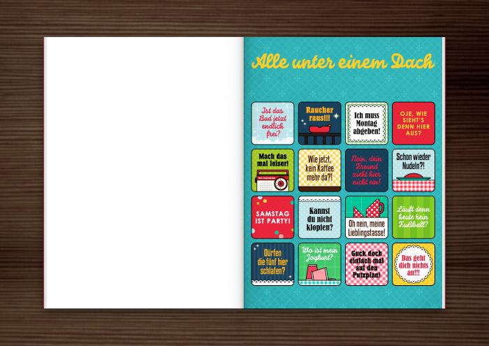 Mockup für die Grafik und Retro-Illustrationen für ein Bullshit-Bingo zum Thema Wohngemeinschaft WG für die AOK-Magazine onJOB und onUNI