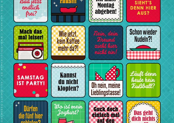 Ausschnitt aus Grafik und Retro-Illustrationen für ein Bullshit-Bingo zum Thema Wohngemeinschaft WG für die AOK-Magazine onJOB und onUNI
