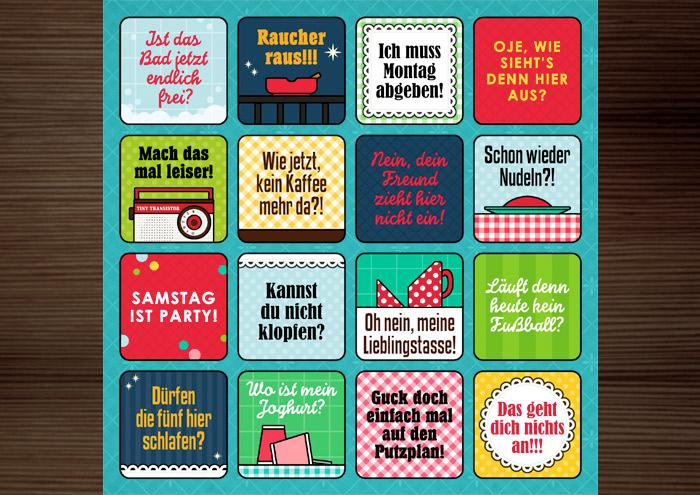 Grafik und Retro-Illustrationen für ein Bullshit-Bingo zum Thema Wohngemeinschaft WG für die AOK-Magazine onJOB und onUNI
