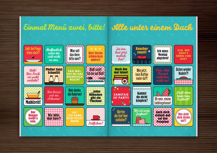 Doppelseite mit Grafik und Retro-Illustrationen für ein Bullshit-Bingo zum Thema Wohngemeinschaft WG und Kantine für die AOK-Magazine onJOB und onUNI