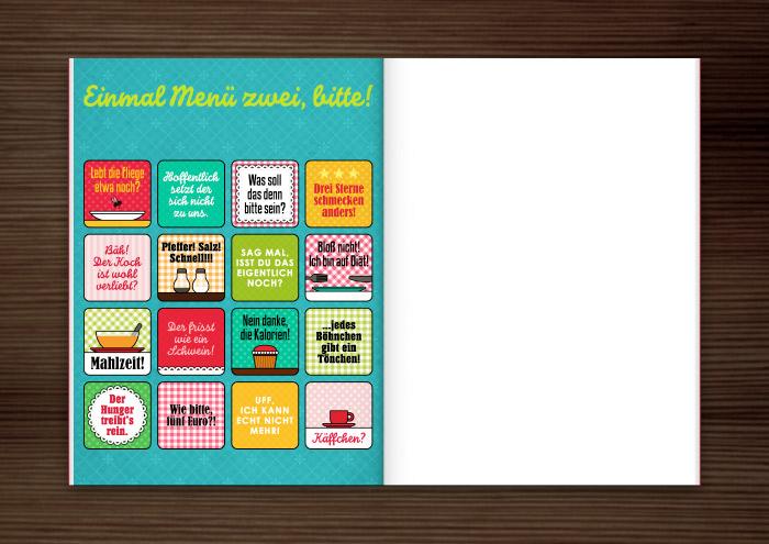Mockup für die Grafik und Retro-Illustrationen für ein Bullshit-Bingo zum Thema Kantine für die AOK-Magazine onJOB und onUNI
