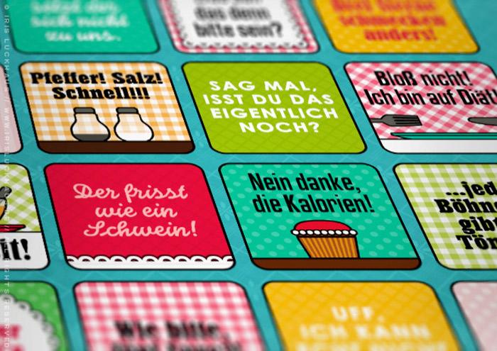 Foto von der Grafik und Retro-Illustrationen für ein Bullshit-Bingo zum Thema Kantine für die AOK-Magazine onJOB und onUNI