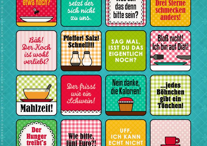 Ausschnitt aus Grafik und Retro-Illustrationen für ein Bullshit-Bingo zum Thema Kantine für die AOK-Magazine onJOB und onUNI
