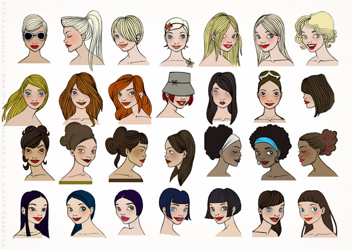 Character Design with the style, hairdos and makeup of famous women, for the Celebrity Imposters Fragrance Gift Set Packaging by Parfums du Coeur