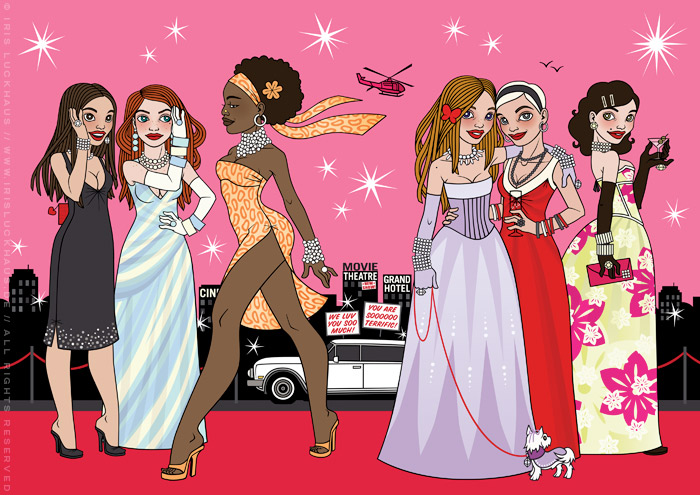 Fashion Illustration with famous women walking, gossiping, posing and drinking champagne on the red carpet for Celebrity Imposters Fragrance Gift Set Packaging by Parfums du Coeur