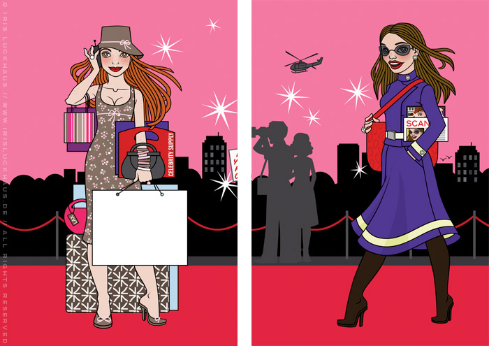 Fashion Illustration with famous women shopping and travelling for the Celebrity Imposters Fragrance Gift Set Packaging by Parfums du Coeur