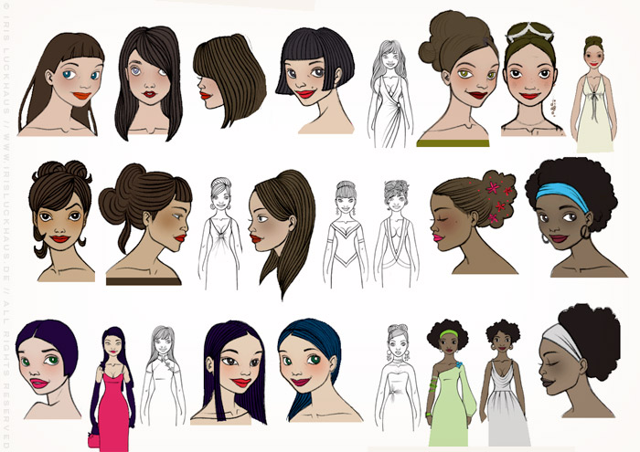 Character Design and Styling, with the fashion sense, styling, hairdos and makeup of famous women, for the Celebrity Imposters Fragrance Gift Set Packaging by Parfums du Coeur