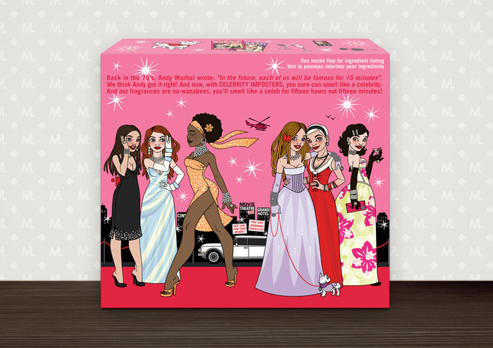 Mockup of the back side of Celebrity Imposters Fragrance Gift Set Packaging by Parfums du Coeur