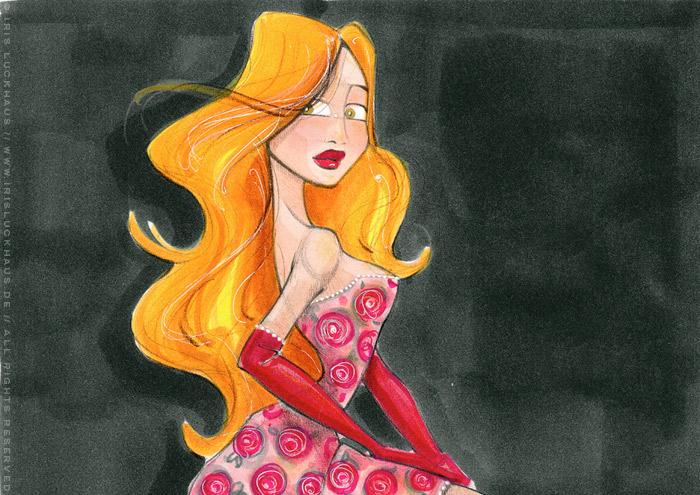Ausschnitt aus der Handzeichnung mit Marker und Aquarell zum Märchen von Aschenbrödel, Aschenputtel oder Cinderella mit Prinzessin im Balldkleid und goldenem Schuh und erschrockenem Blick