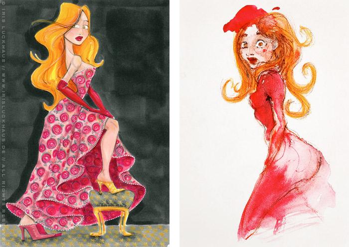 Handzeichnung mit Marker und Aquarell zum Märchen von Aschenbrödel, Aschenputtel oder Cinderella mit Prinzessin im Balldkleid und goldenem Schuh und erschrockenem Blick von Iris Luckhaus