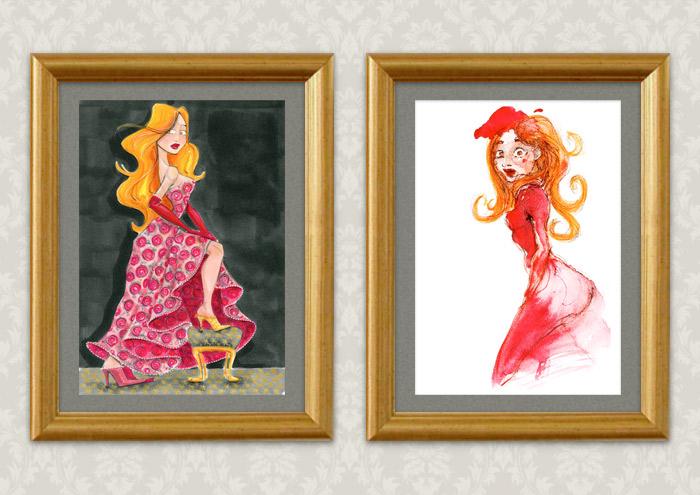Gerahmte Handzeichnung mit Marker und Aquarell zum Märchen von Aschenbrödel, Aschenputtel oder Cinderella mit Prinzessin im Balldkleid und goldenem Schuh und erschrockenem Blick bei Ausstellung