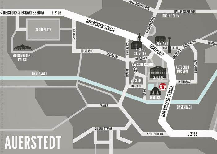 Ausschnitt aus der Landkarte von Auerstedt, Grafik Design von Logo und Corporate Identity für Hochzeit und gemeinsames Leben des Paares