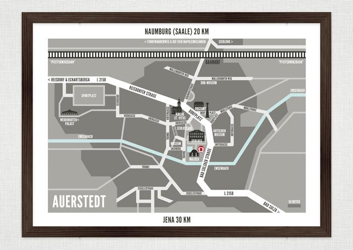Gerahmte Landkarte von Auerstedt, Grafik Design von Logo und Corporate Identity für Hochzeit und gemeinsames Leben des Paares