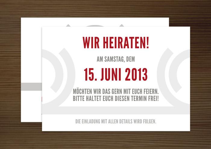 Save-the-Date Ankündigungskarte, Grafik Design von Logo und Corporate Identity für Hochzeit und gemeinsames Leben des Paares