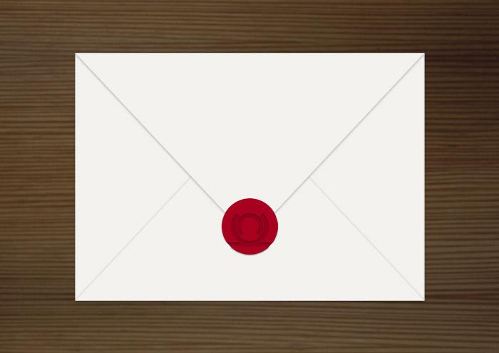 Stempel, Siegel und Umschlag, Grafik Design von Logo und Corporate Identity für Hochzeit und gemeinsames Leben des Paares