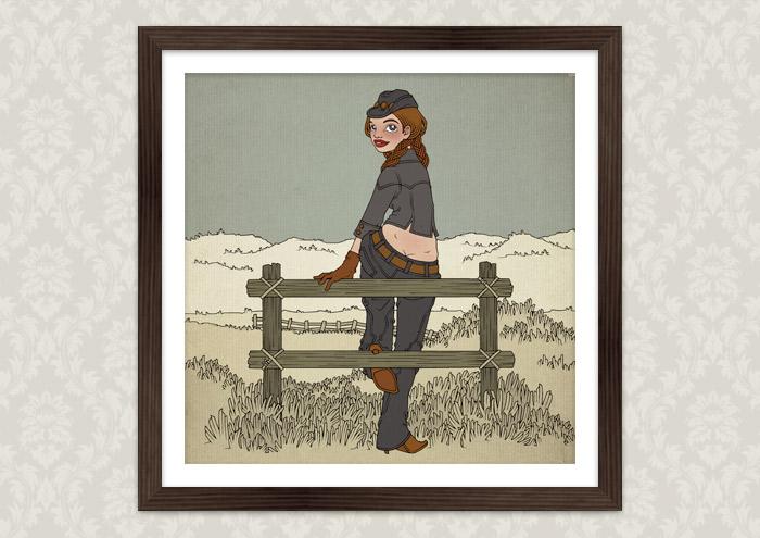 Illustration eines in Jeans und Stetson auf dem Zaun einer Weide im wilden Westen sitzenden Cowgirls als Kunstdruck