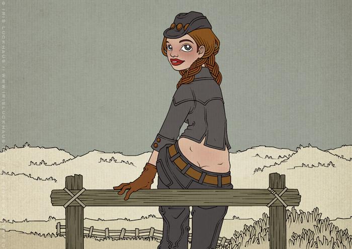 Illustration eines in Jeans und Stetson auf dem Zaun einer Weide im wilden Westen sitzenden Cowgirls