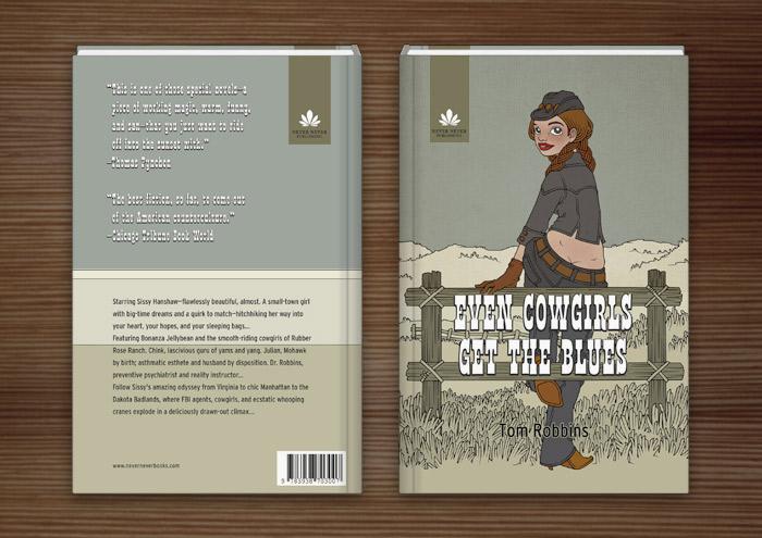 Illustration eines in Jeans und Stetson auf dem Zaun einer Weide im wilden Westen sitzenden Cowgirls als Umschlag für das Buch Even Cowgirls get the Blues