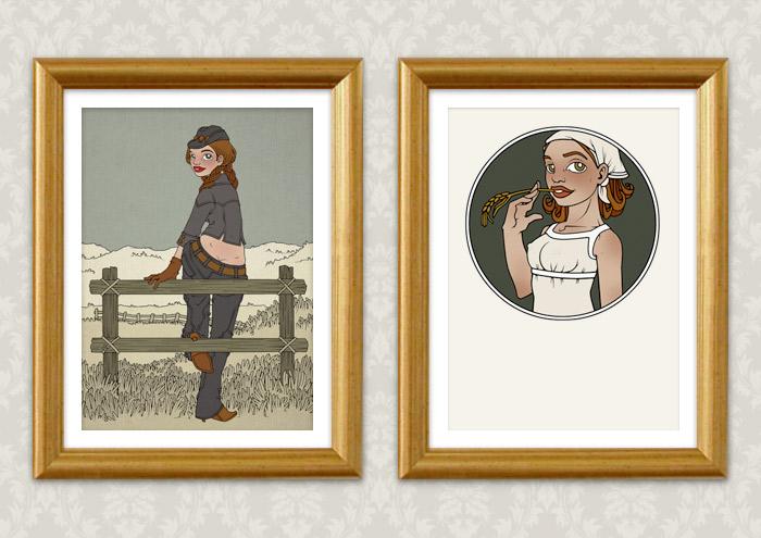 Gerahmte Illustrationen eines in Jeans und Stetson auf dem Zaun einer Weide im wilden Westen sitzenden Cowgirls und seiner an einem Halm kauenden Freundin Cornflake Lucy als Kunstdruck
