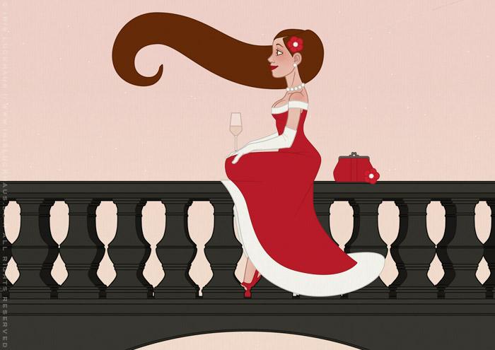 Illustration einer schönen Frau im roten Abendkleid, die bei Sonnenaufgang Champagner auf einer Brücke in Paris trinkt, für eine Materialbroschüre der Firma Schock