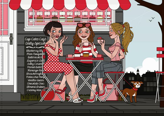 Illustration von drei Freundinnen im Café, die Cupcakes essen, Kaffee trinken und fröhlich Gossip verbreiten, für eine Materialbroschüre der Firma Schock