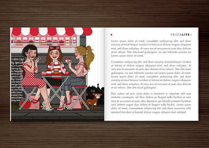 Materialbroschüre der Firma Schock mit der Illustration von drei Freundinnen im Café, die Cupcakes essen, Kaffee trinken und fröhlich Gossip verbreiten