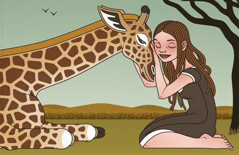 Ausschnitt aus einer Zeichnung von Iris Luckhaus mit Mädchen und einer Giraffe als Freundinnen, für den Empathie-Trainer EmpaTrain