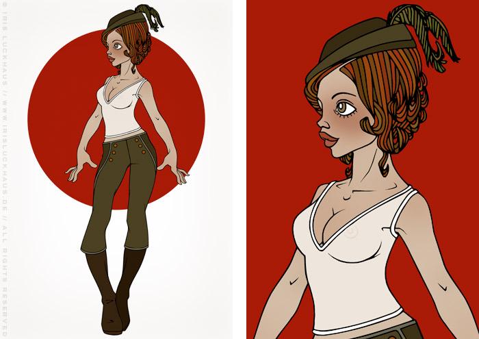 Modeillustration Gracie als Jägerin mit Hut auf Rot von Iris Luckhaus