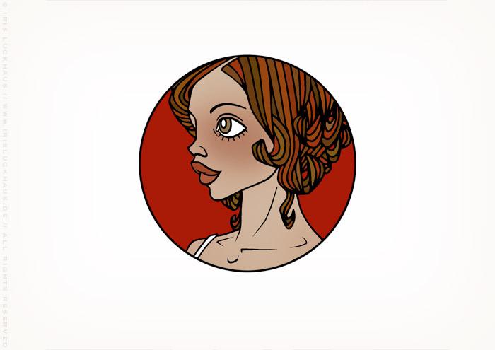 Gracie als Vignette mit Frauenportrait auf Rot von Iris Luckhaus